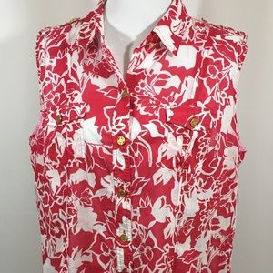 Chico's Red Blouse with White flowers Print